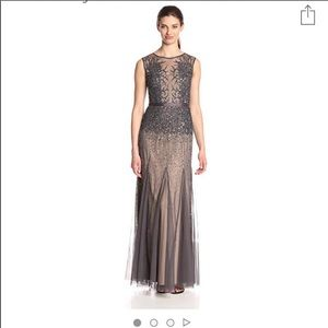 Women's Long Beaded Gown with Illusion Neckline, 8